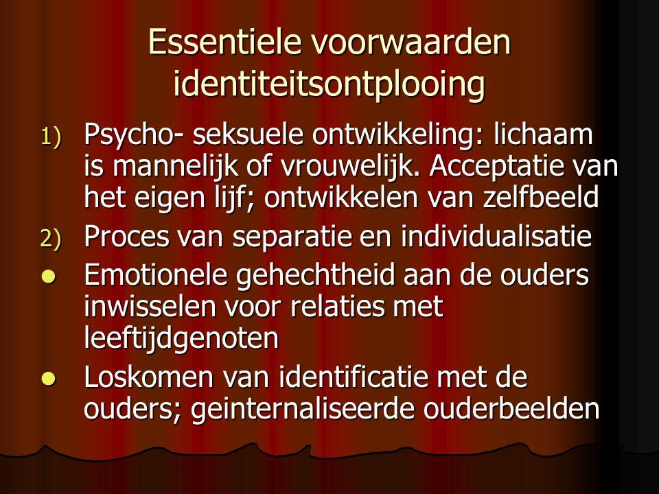 Essentiele voorwaarden identiteitsontplooing 1) Psycho- seksuele ontwikkeling: lichaam is mannelijk of vrouwelijk.