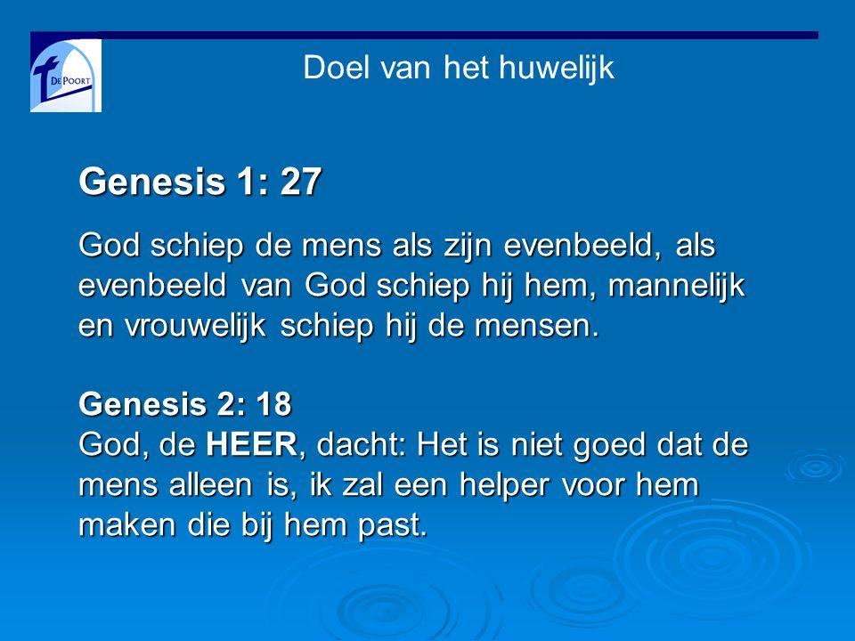Doel van het huwelijk Genesis 1: 27 God schiep de mens als zijn evenbeeld, als evenbeeld van God schiep hij hem, mannelijk en vrouwelijk schiep hij de