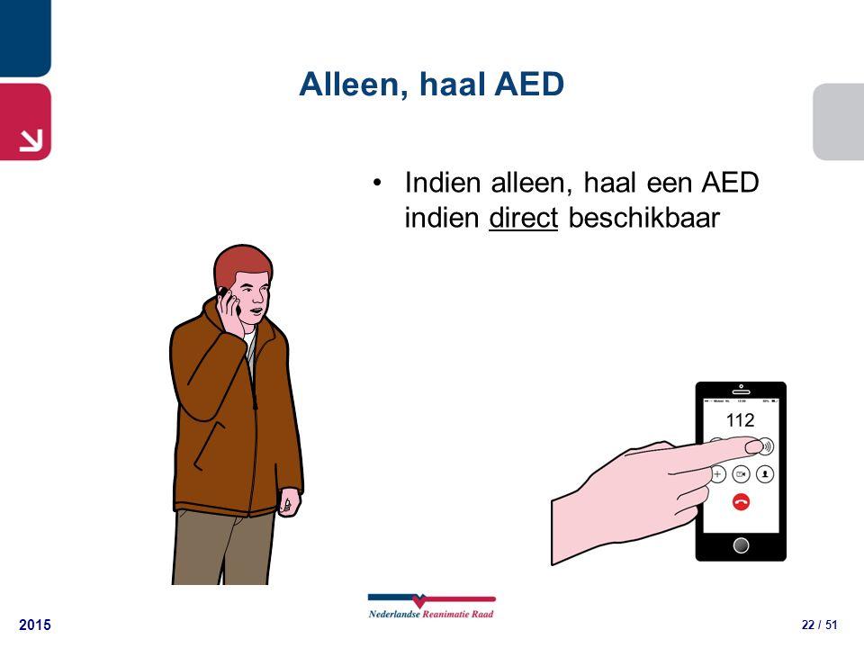 2015 22 / 51 Alleen, haal AED Indien alleen, haal een AED indien direct beschikbaar