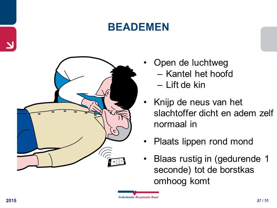 2015 27 / 51 Open de luchtweg –Kantel het hoofd –Lift de kin Knijp de neus van het slachtoffer dicht en adem zelf normaal in Plaats lippen rond mond Blaas rustig in (gedurende 1 seconde) tot de borstkas omhoog komt BEADEMEN