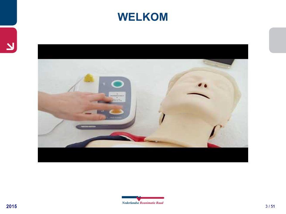 2015 24 / 51 GEEF 30 COMPRESSIES 30 borstcompressies 2 beademingen (laat) 112 bellen + AED Open luchtweg Slachtoffer reageert niet Ademhaling niet normaal Ga door 30:2 Activeer AED, zodra deze er is