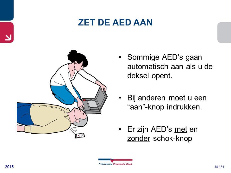 """2015 34 / 51 Sommige AED's gaan automatisch aan als u de deksel opent. Bij anderen moet u een """"aan""""-knop indrukken. Er zijn AED's met en zonder schok-"""