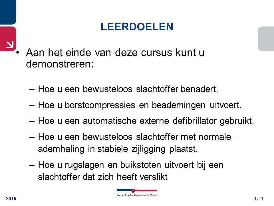 2015 5 / 51 Elk jaar krijgen in Nederland 15.000 mensen een circulatiestilstand buiten het ziekenhuis Het uitvoeren van reanimatie vóór de aankomst van professionele hulpverleners of first-responders is voor de slachtoffers van levensbelang ACHTERGRONDINFORMATIE (1)