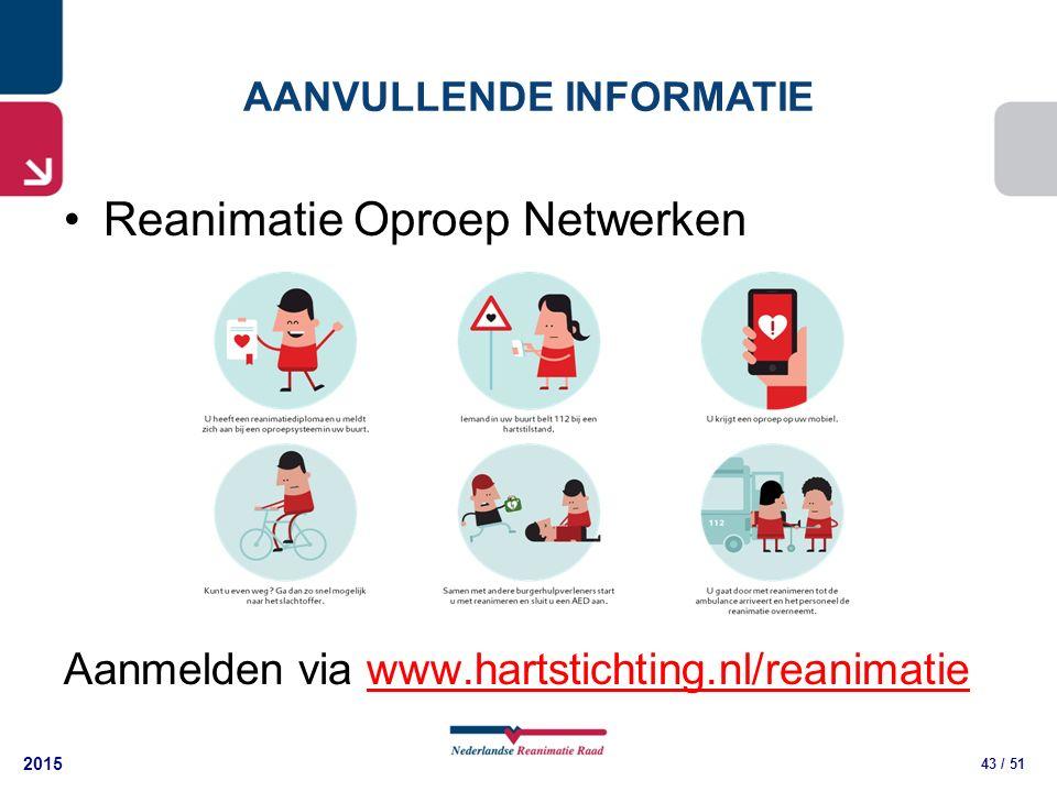 2015 43 / 51 AANVULLENDE INFORMATIE Reanimatie Oproep Netwerken Aanmelden via www.hartstichting.nl/reanimatiewww.hartstichting.nl/reanimatie