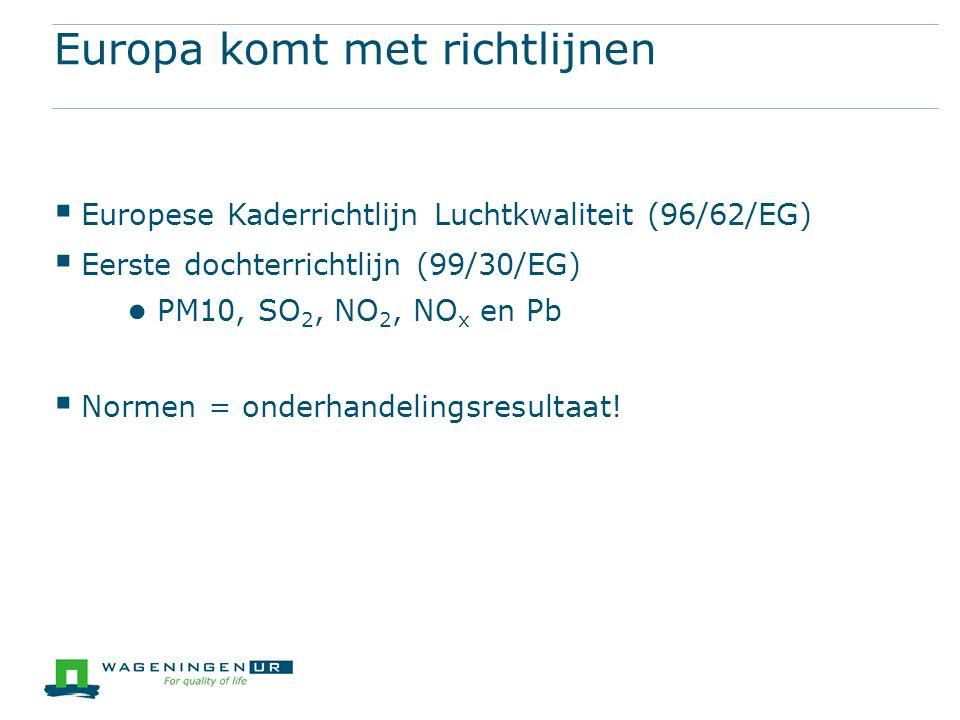 Europa komt met richtlijnen  Europese Kaderrichtlijn Luchtkwaliteit (96/62/EG)  Eerste dochterrichtlijn (99/30/EG) ● PM10, SO 2, NO 2, NO x en Pb  Normen = onderhandelingsresultaat!