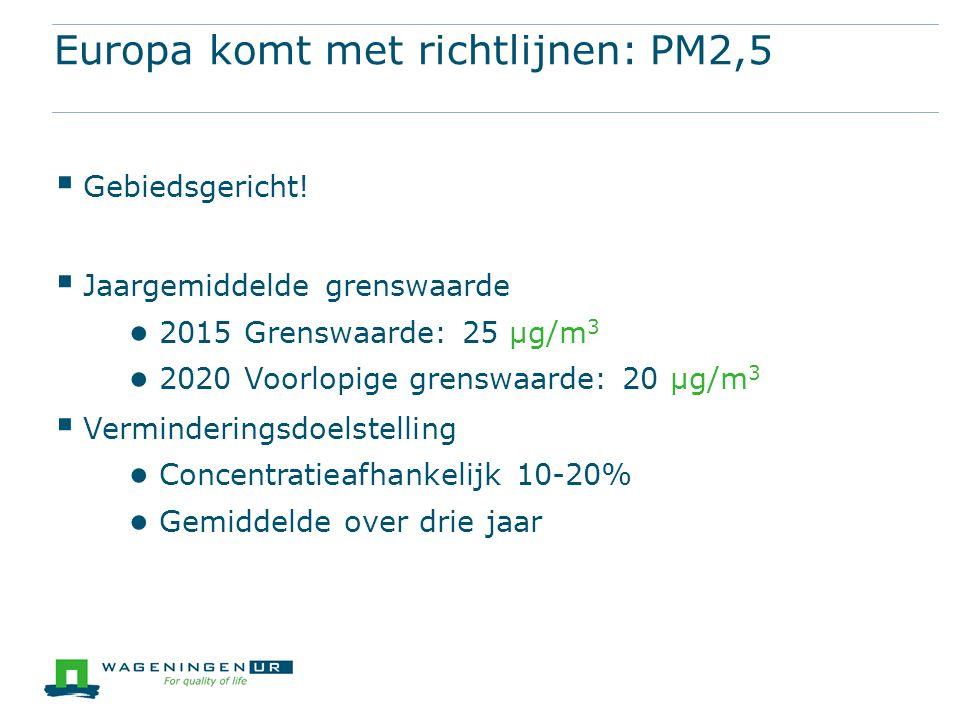 Europa komt met richtlijnen: PM2,5  Gebiedsgericht.