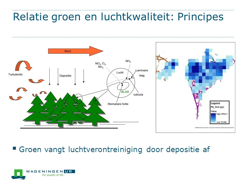 Relatie groen en luchtkwaliteit: Principes  Groen vangt luchtverontreiniging door depositie af
