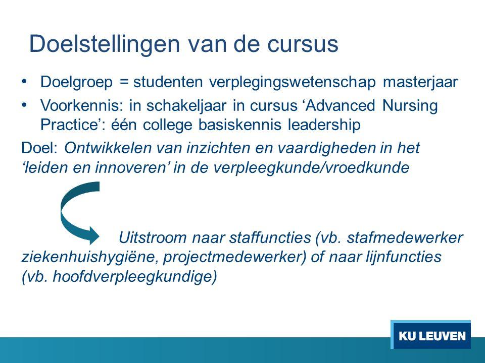 Doelstellingen van de cursus Doelgroep = studenten verplegingswetenschap masterjaar Voorkennis: in schakeljaar in cursus 'Advanced Nursing Practice':