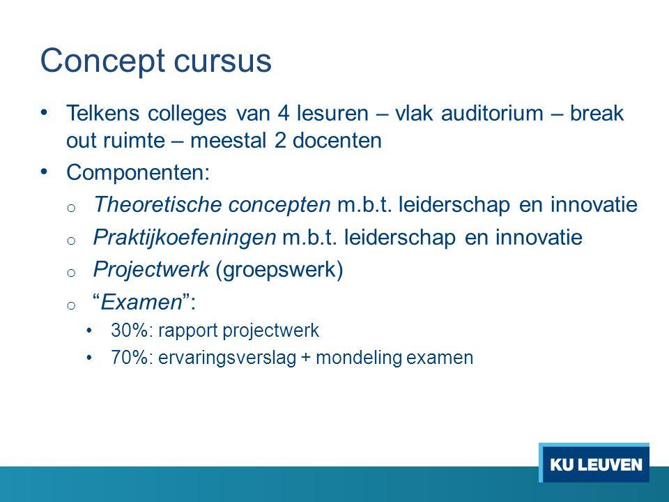 Concept cursus Telkens colleges van 4 lesuren – vlak auditorium – break out ruimte – meestal 2 docenten Componenten: o Theoretische concepten m.b.t.