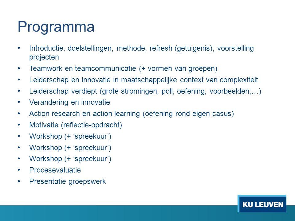 Programma Introductie: doelstellingen, methode, refresh (getuigenis), voorstelling projecten Teamwork en teamcommunicatie (+ vormen van groepen) Leide