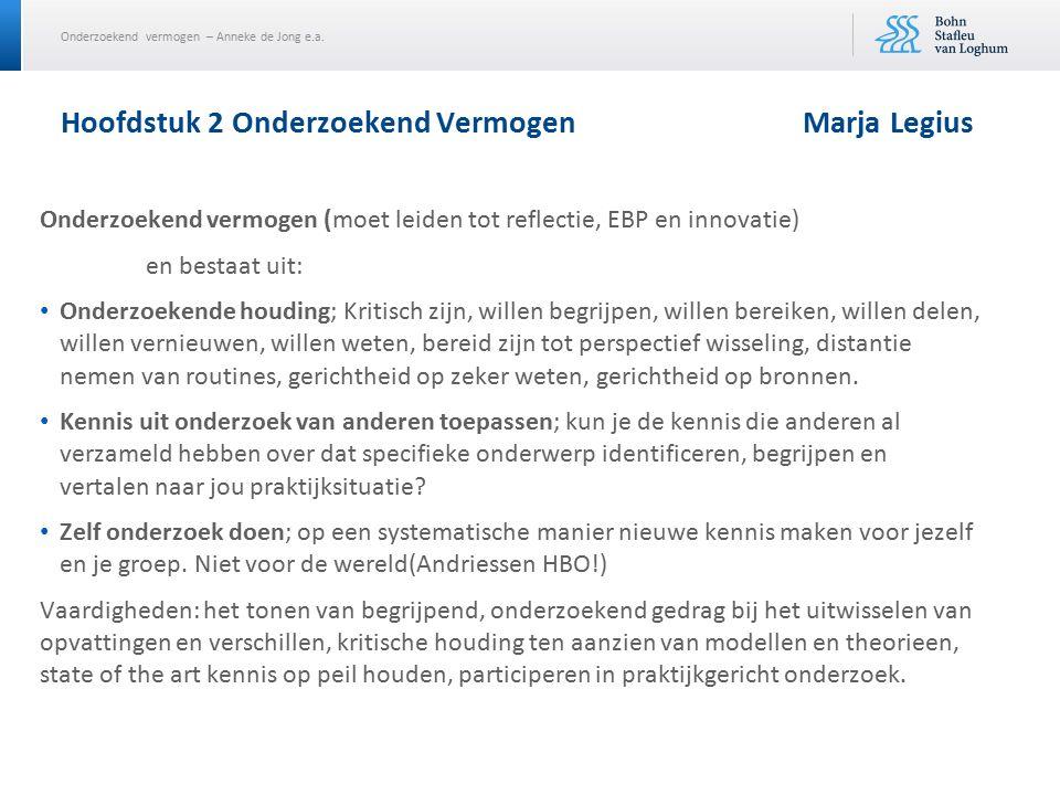 Onderzoekend vermogen – Anneke de Jong e.a. Hoofdstuk 2 Onderzoekend VermogenMarja Legius Onderzoekend vermogen (moet leiden tot reflectie, EBP en inn