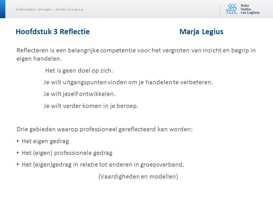 Onderzoekend vermogen – Anneke de Jong e.a. Hoofdstuk 3 Reflectie Marja Legius Reflecteren is een belangrijke competentie voor het vergroten van inzic