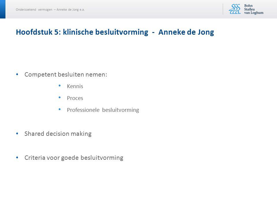 Onderzoekend vermogen – Anneke de Jong e.a. Competent besluiten nemen: Kennis Proces Professionele besluitvorming Shared decision making Criteria voor