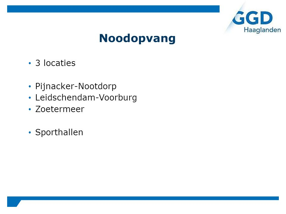 3 locaties Pijnacker-Nootdorp Leidschendam-Voorburg Zoetermeer Sporthallen Noodopvang