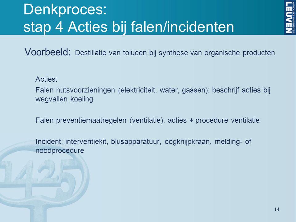 14 Denkproces: stap 4 Acties bij falen/incidenten Voorbeeld: Destillatie van tolueen bij synthese van organische producten Acties: Falen nutsvoorzieningen (elektriciteit, water, gassen): beschrijf acties bij wegvallen koeling Falen preventiemaatregelen (ventilatie): acties + procedure ventilatie Incident: interventiekit, blusapparatuur, oogknijpkraan, melding- of noodprocedure