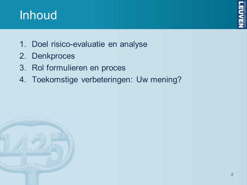 2 Inhoud 1.Doel risico-evaluatie en analyse 2.Denkproces 3.Rol formulieren en proces 4.Toekomstige verbeteringen: Uw mening