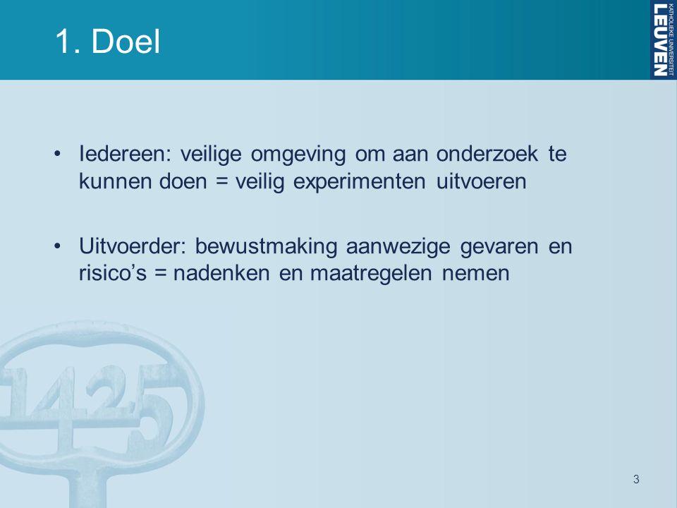 3 1. Doel Iedereen: veilige omgeving om aan onderzoek te kunnen doen = veilig experimenten uitvoeren Uitvoerder: bewustmaking aanwezige gevaren en ris