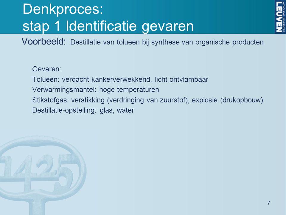 8 Denkproces: stap 2 Identificatie van de risico's Risico's voortkomend uit het gebruik van agentia/MAP (= intrinsieke gevaren) in een activiteit of experiment.