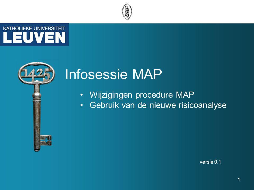 Infosessie MAP versie 0.1 1 Wijzigingen procedure MAP Gebruik van de nieuwe risicoanalyse
