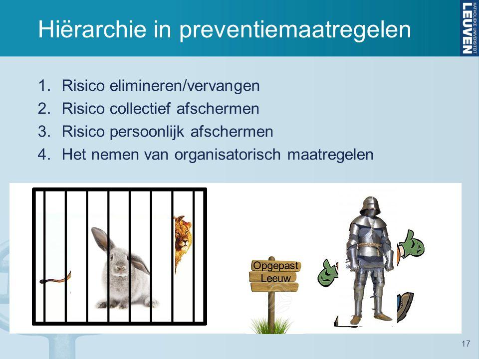 Hiërarchie in preventiemaatregelen 17 1.Risico elimineren/vervangen 2.Risico collectief afschermen 3.Risico persoonlijk afschermen 4.Het nemen van organisatorisch maatregelen