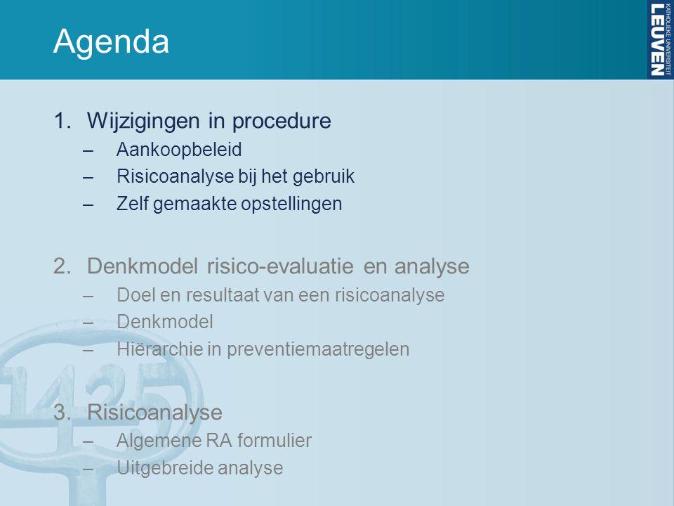 Agenda 1.Wijzigingen in procedure –Aankoopbeleid –Risicoanalyse bij het gebruik –Zelf gemaakte opstellingen 2.Denkmodel risico-evaluatie en analyse –Doel en resultaat van een risicoanalyse –Denkmodel –Hiërarchie in preventiemaatregelen 3.Risicoanalyse –Algemene RA formulier –Uitgebreide analyse