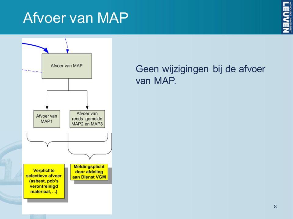 Afvoer van MAP 8 Geen wijzigingen bij de afvoer van MAP.