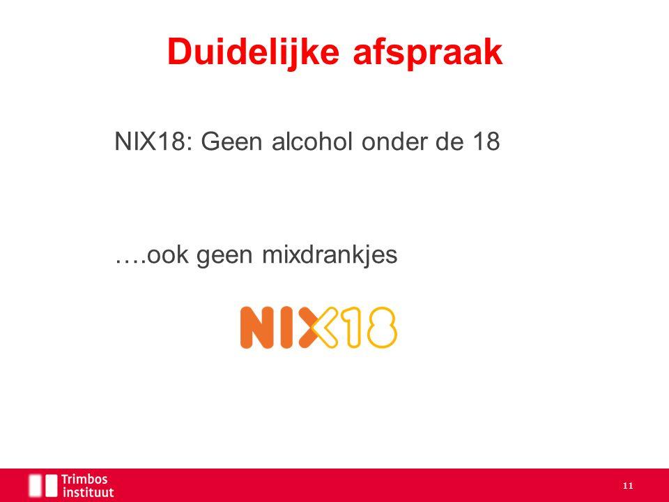 NIX18: Geen alcohol onder de 18 ….ook geen mixdrankjes Duidelijke afspraak 11