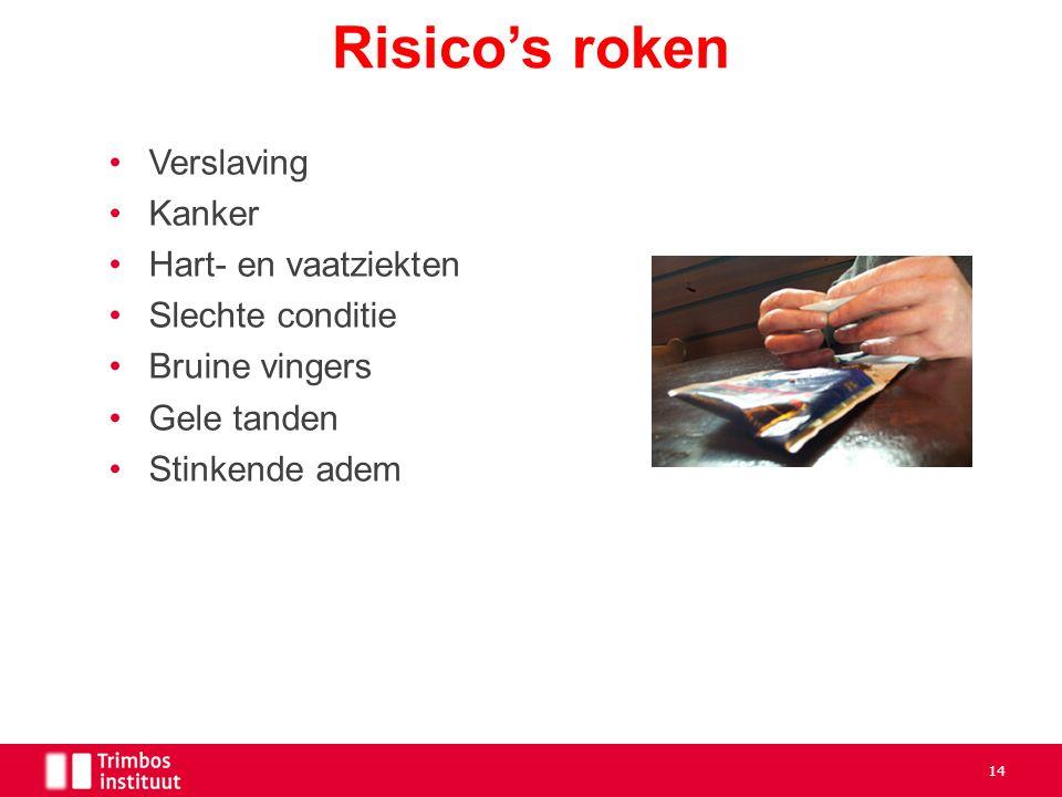 Verslaving Kanker Hart- en vaatziekten Slechte conditie Bruine vingers Gele tanden Stinkende adem Risico's roken 14