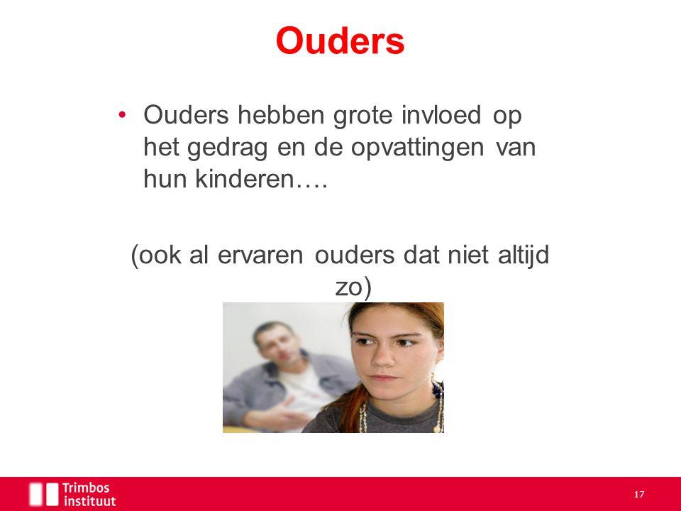 Ouders hebben grote invloed op het gedrag en de opvattingen van hun kinderen….