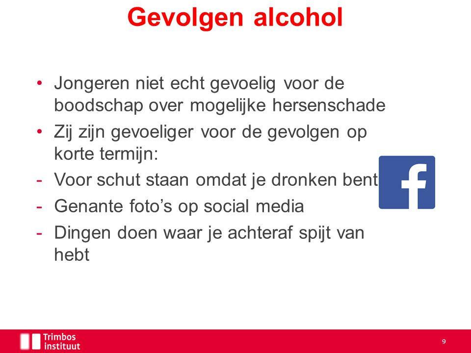 Jongeren niet echt gevoelig voor de boodschap over mogelijke hersenschade Zij zijn gevoeliger voor de gevolgen op korte termijn: -Voor schut staan omdat je dronken bent -Genante foto's op social media -Dingen doen waar je achteraf spijt van hebt Gevolgen alcohol 9