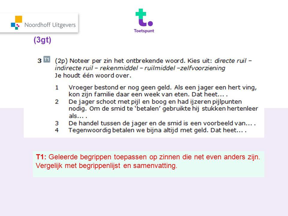 (3gt) T1: Geleerde begrippen toepassen op zinnen die net even anders zijn. Vergelijk met begrippenlijst en samenvatting.
