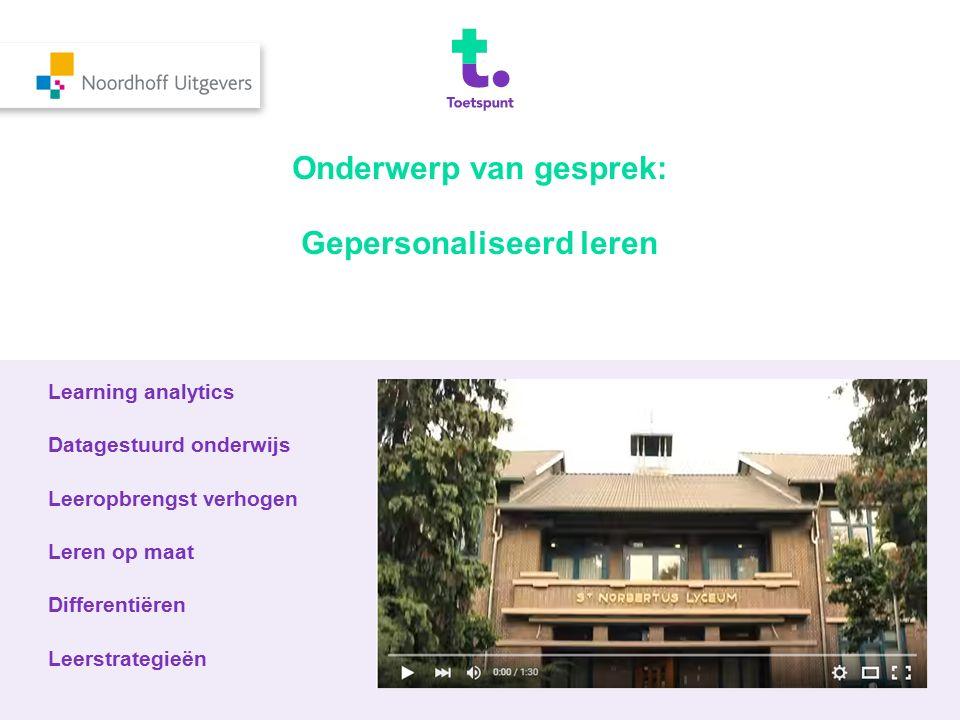 Onderwerp van gesprek: Gepersonaliseerd leren Learning analytics Datagestuurd onderwijs Leeropbrengst verhogen Leren op maat Differentiëren Leerstrate