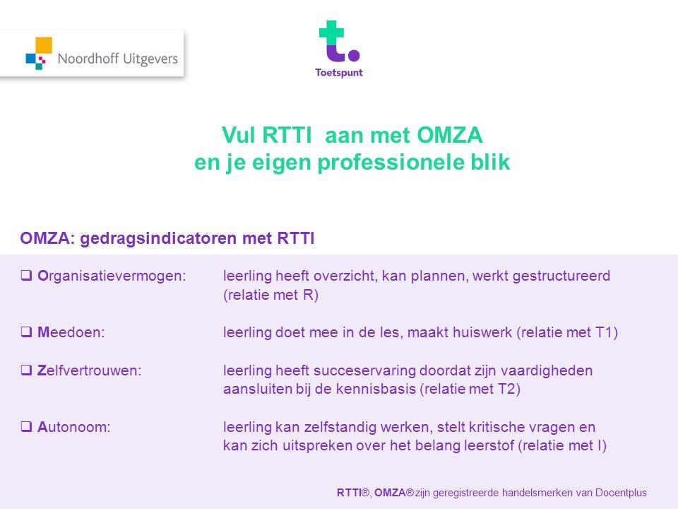 OMZA: gedragsindicatoren met RTTI  Organisatievermogen: leerling heeft overzicht, kan plannen, werkt gestructureerd (relatie met R)  Meedoen: leerli
