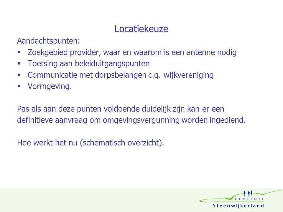 Locatiekeuze Aandachtspunten:  Zoekgebied provider, waar en waarom is een antenne nodig  Toetsing aan beleiduitgangspunten  Communicatie met dorpsbelangen c.q.