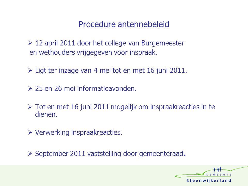 Procedure antennebeleid  12 april 2011 door het college van Burgemeester en wethouders vrijgegeven voor inspraak.  Ligt ter inzage van 4 mei tot en