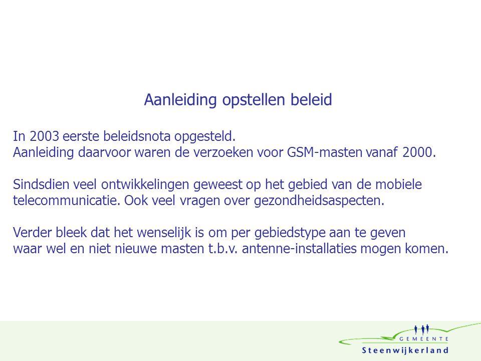 Aanleiding opstellen beleid In 2003 eerste beleidsnota opgesteld. Aanleiding daarvoor waren de verzoeken voor GSM-masten vanaf 2000. Sindsdien veel on