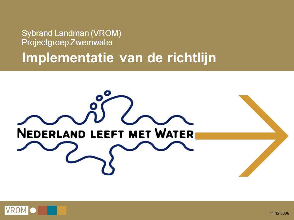 14-12-2006 Sybrand Landman (VROM) Projectgroep Zwemwater Implementatie van de richtlijn
