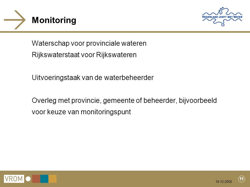 14-12-2006 11 Monitoring Waterschap voor provinciale wateren Rijkswaterstaat voor Rijkswateren Uitvoeringstaak van de waterbeheerder Overleg met provincie, gemeente of beheerder, bijvoorbeeld voor keuze van monitoringspunt