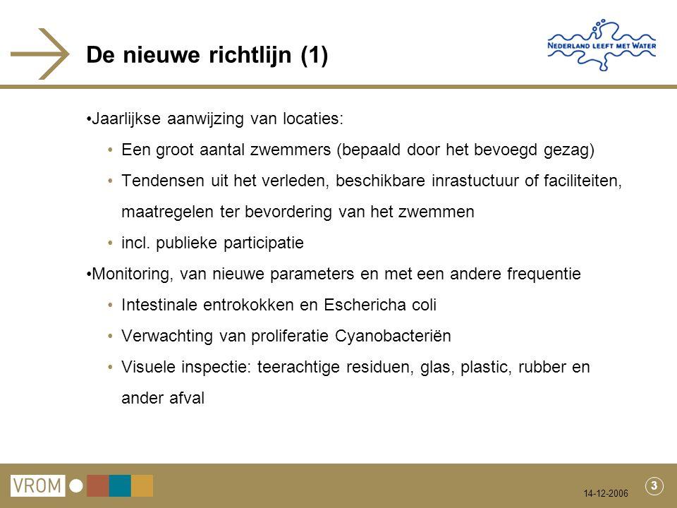 14-12-2006 3 De nieuwe richtlijn (1) Jaarlijkse aanwijzing van locaties: Een groot aantal zwemmers (bepaald door het bevoegd gezag) Tendensen uit het