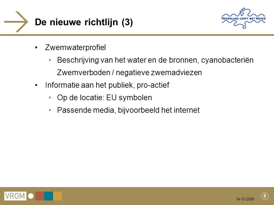 14-12-2006 5 De nieuwe richtlijn (3) Zwemwaterprofiel Beschrijving van het water en de bronnen, cyanobacteriën Zwemverboden / negatieve zwemadviezen Informatie aan het publiek, pro-actief Op de locatie: EU symbolen Passende media, bijvoorbeeld het internet
