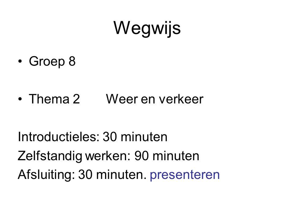 Wegwijs Groep 8 Thema 2Weer en verkeer Introductieles: 30 minuten Zelfstandig werken: 90 minuten Afsluiting: 30 minuten.