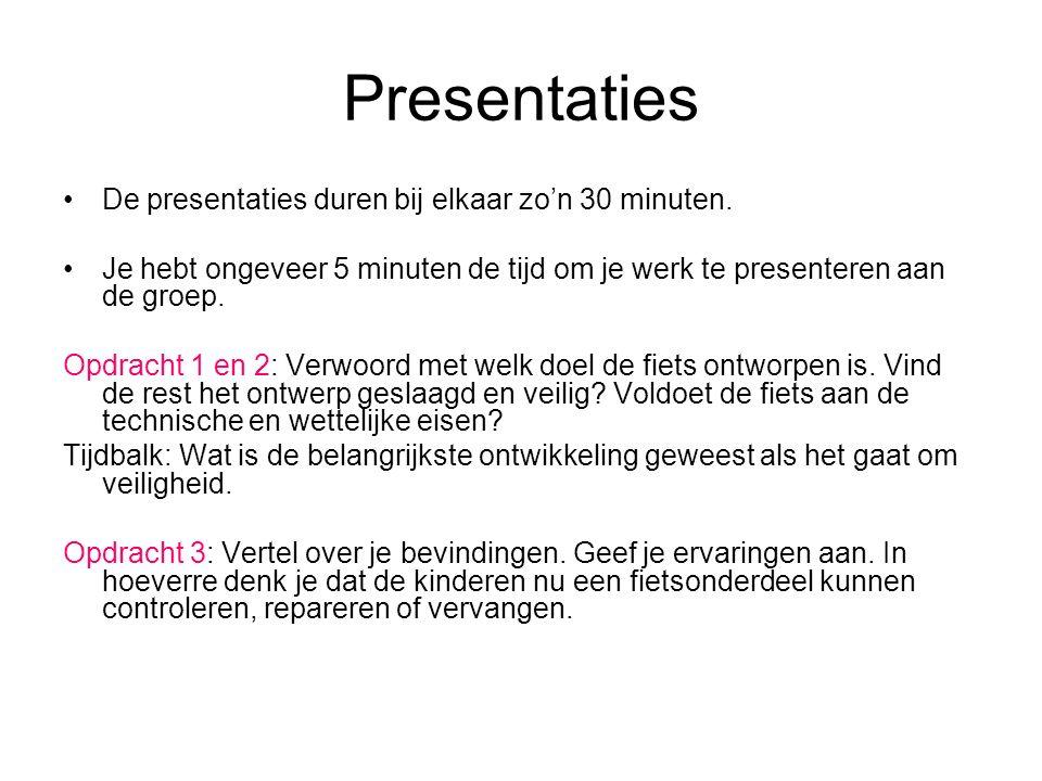 Presentaties De presentaties duren bij elkaar zo'n 30 minuten.