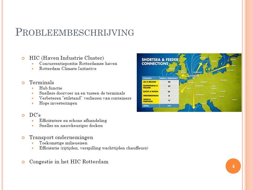 P ROBLEEMBESCHRIJVING HIC (Haven Industrie Cluster) Concurrentiepositie Rotterdamse haven Rotterdam Climate Initiative Terminals Hub functie Snellere doorvoer na en tussen de terminals Verbeteren stilstand verliezen van containers Hoge investeringen DC's Efficiëntere en schone afhandeling Sneller en nauwkeuriger docken Transport ondernemingen Toekomstige milieueisen Efficiëntie (rijtijden, verspilling wachttijden chauffeurs) Congestie in het HIC Rotterdam 4