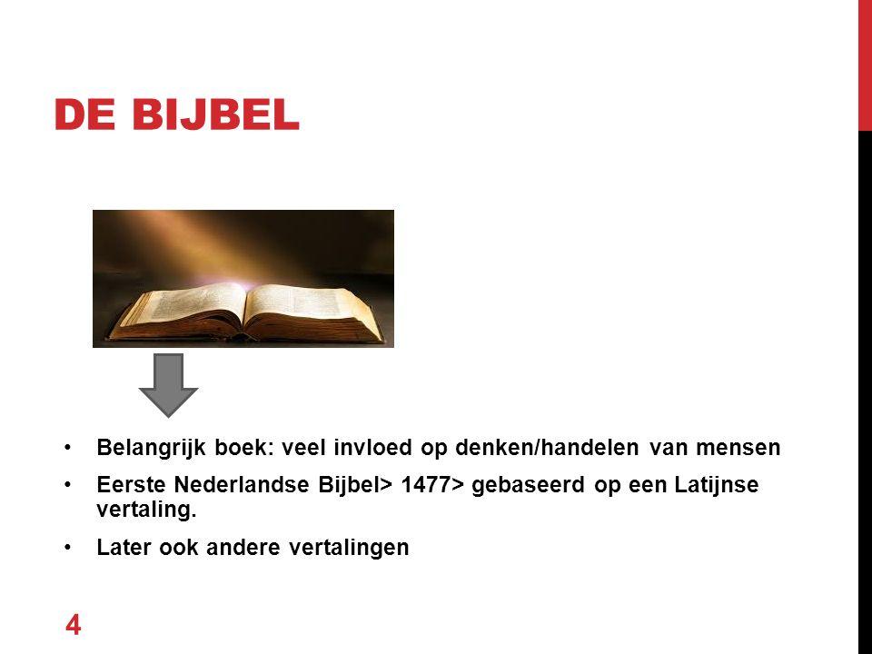 Belangrijk boek: veel invloed op denken/handelen van mensen Eerste Nederlandse Bijbel> 1477> gebaseerd op een Latijnse vertaling.