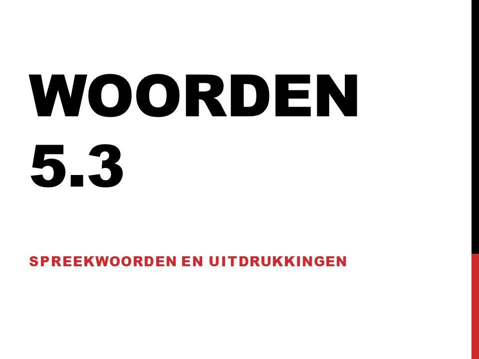 WOORDEN 5.3 SPREEKWOORDEN EN UITDRUKKINGEN
