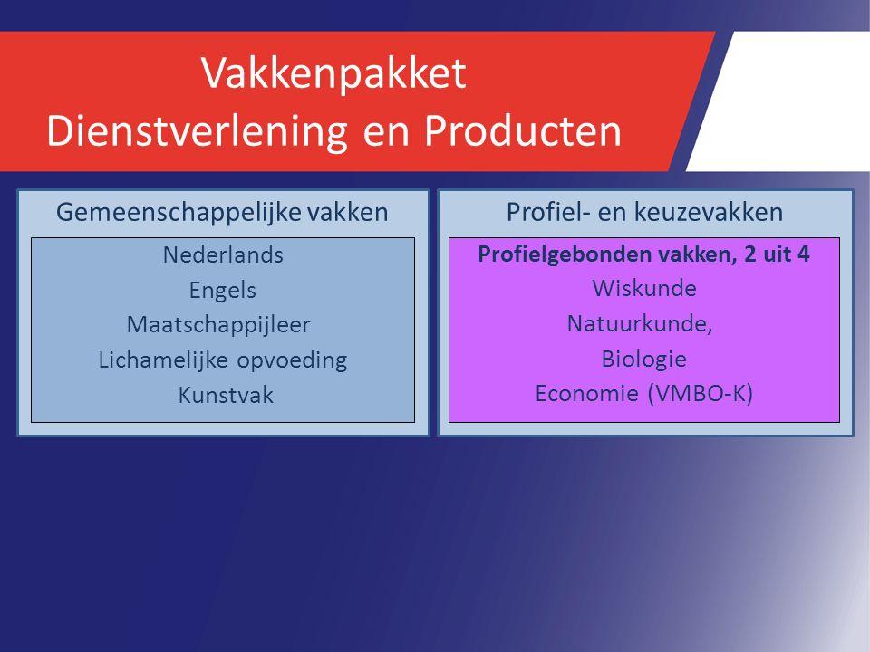Vakkenpakket Dienstverlening en Producten Gemeenschappelijke vakken Nederlands Engels Maatschappijleer Lichamelijke opvoeding Kunstvak Profiel- en keuzevakken Profielgebonden vakken, 2 uit 4 Wiskunde Natuurkunde, Biologie Economie (VMBO-K)
