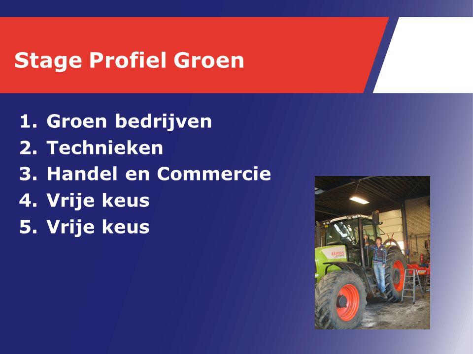 Stage Profiel Groen 1.Groen bedrijven 2.Technieken 3.Handel en Commercie 4.Vrije keus 5.Vrije keus