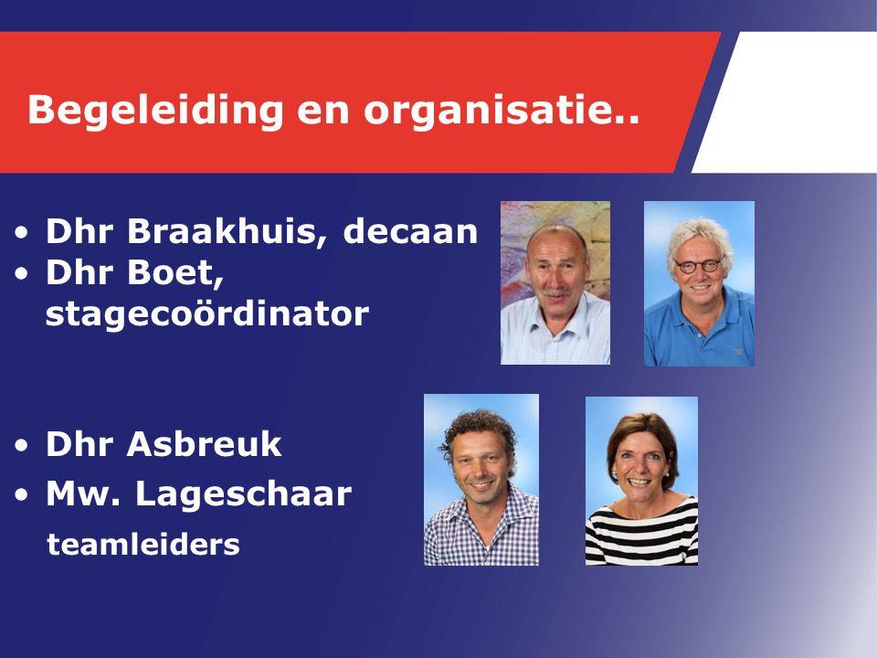 Begeleiding en organisatie.. Dhr Braakhuis, decaan Dhr Boet, stagecoördinator Dhr Asbreuk Mw.