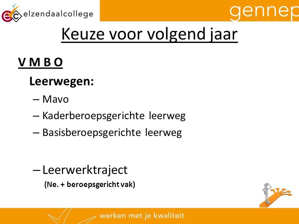 Keuze voor volgend jaar V M B O Leerwegen: – Mavo – Kaderberoepsgerichte leerweg – Basisberoepsgerichte leerweg – Leerwerktraject (Ne.