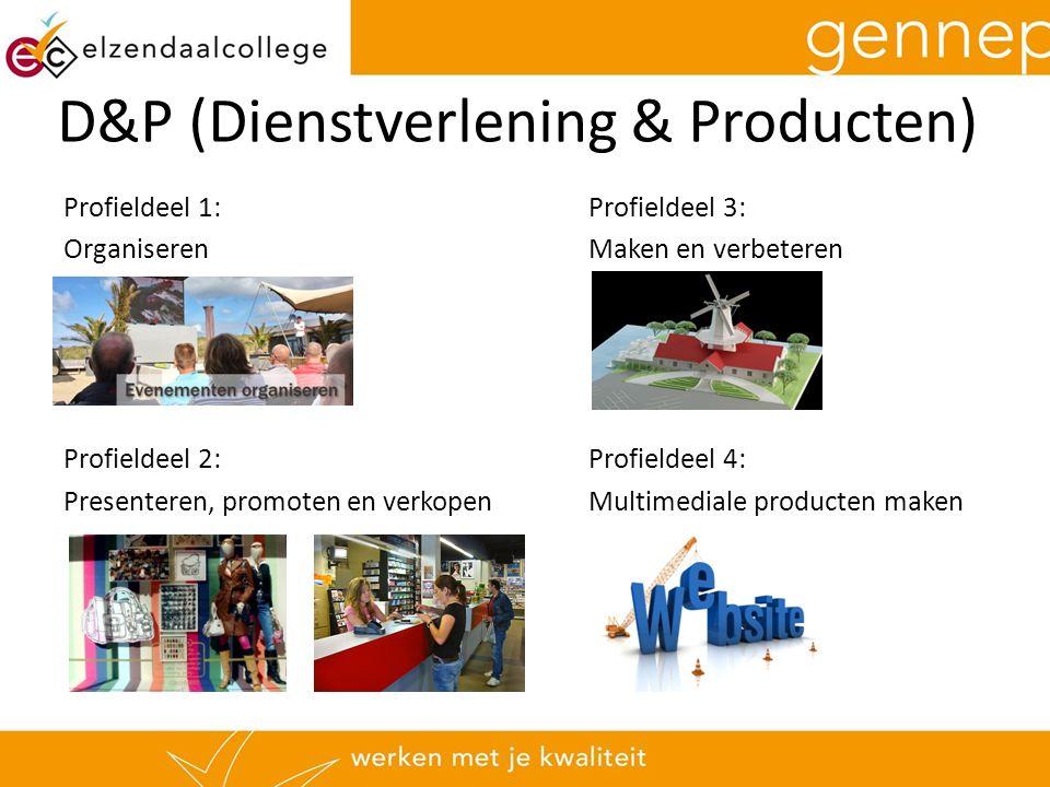 D&P (Dienstverlening & Producten) Profieldeel 1:Profieldeel 3: OrganiserenMaken en verbeteren Profieldeel 2:Profieldeel 4: Presenteren, promoten en verkopenMultimediale producten maken